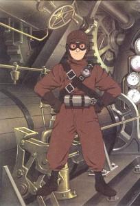 Une image de manga avec un garçon en tenue steampunk