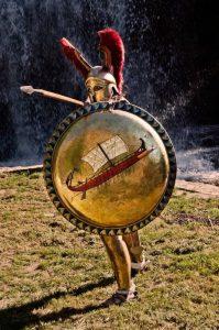 recosntitution de hoplite grec en position de combat